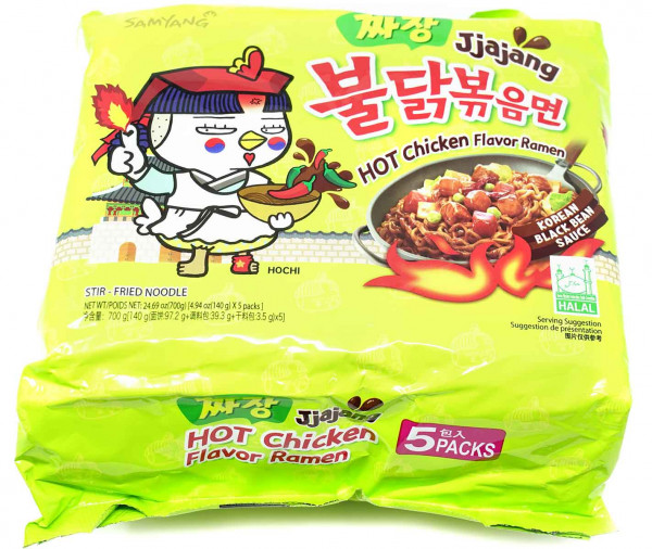 Samyang Hot Chicken Ramen Jjajang, 5x 140 g