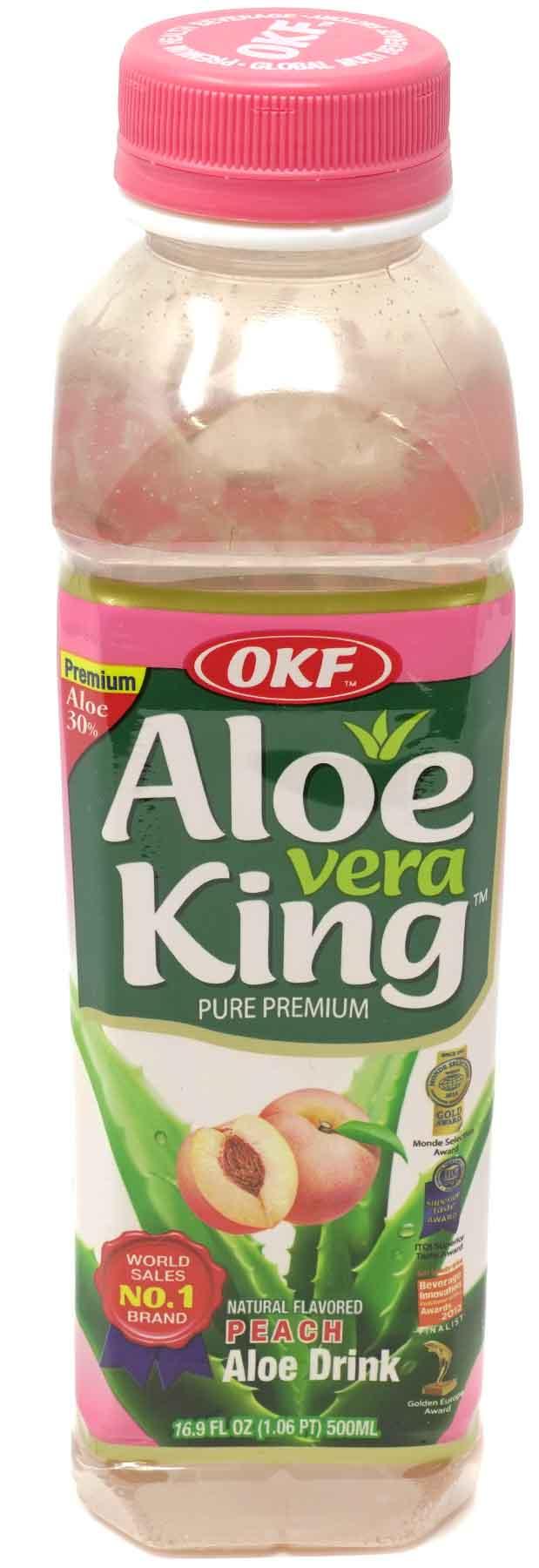 OKF Aloe Vera King Juice mit Pfirsichgeschmack, 500 ml