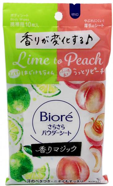 Kao Biore Sara Sara Erfrischungstücher mit Micropulver und Limette-Pfirsich Duft, 10 Blätter