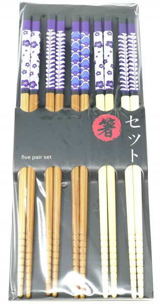Essstäbchen-Satz Bambus mit Muster, 22,5 cm