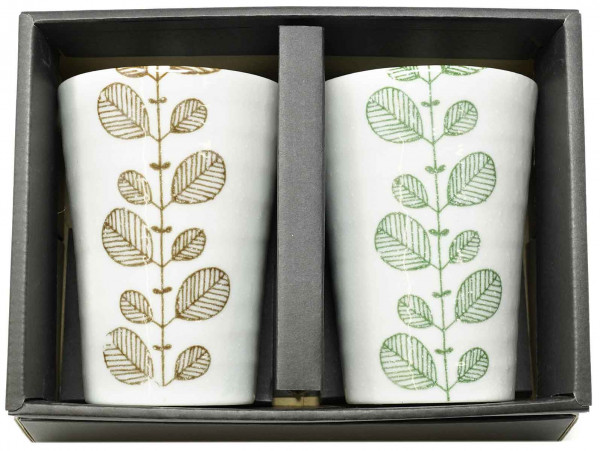 Becher-Set grün/braun, 8,2 x 11,2 cm