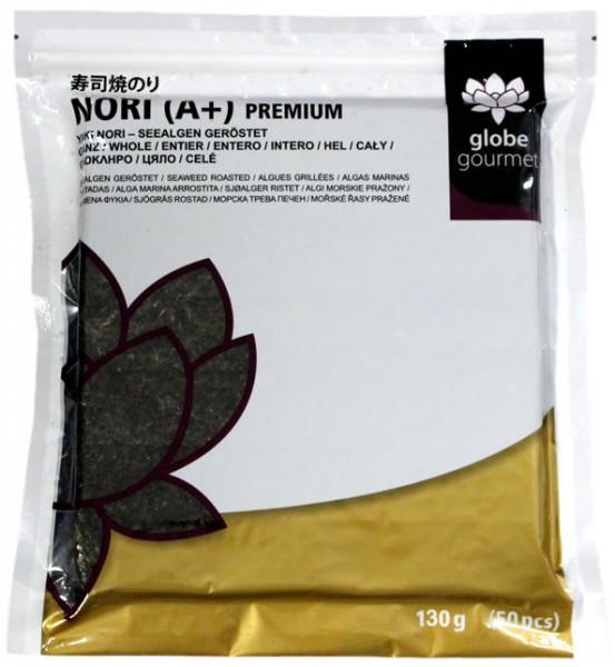 Globe Gourmet Nori-Blätter A+ Premium, ganze Blätter, 50 Stück
