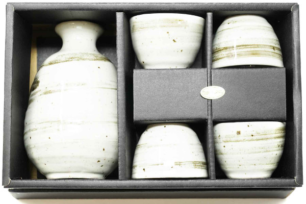 "Sake-Set in ""Pearl Creme""-Optik, 5-teilig"