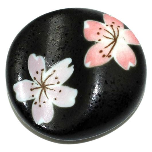 Essstäbchenhalter schwarz mit Blumen