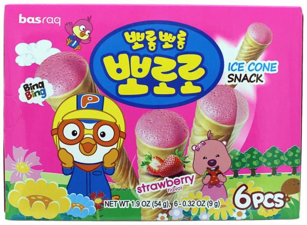 PORORO Koreanischer Eiswaffel-Snack Erdbeere, 54 g