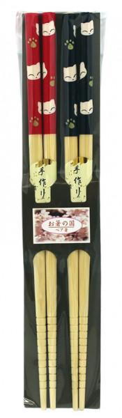 Essstäbchen aus Bambus mit Kätzchen, 2 Paar