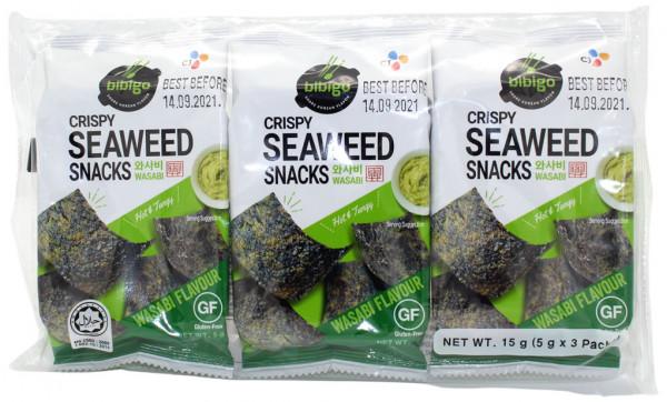 Knuspriger Seetang-Snack Wasabi-Geschmack, 3x 5 g