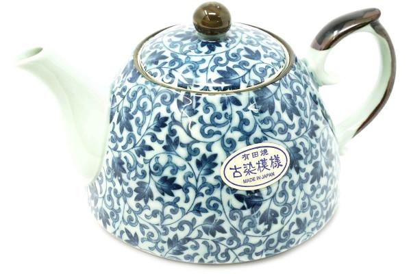 Japanische Teekanne mit blauem Blumenmuster, 500 ml