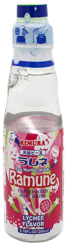 Kimura Ganso Ramune-Limonade mit Litschi-Geschmack, 250 ml