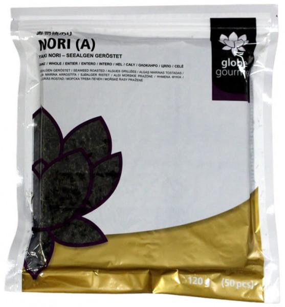 Globe Gourmet Nori-Blätter A, ganze Blätter, 50 Stück