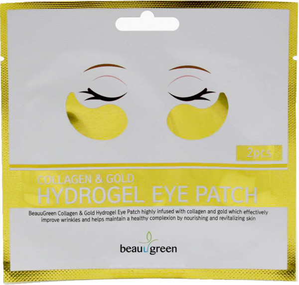 BeauuGreen Anti-Falten-Augenmaske mit Gold und Kollagen, 2 Stück