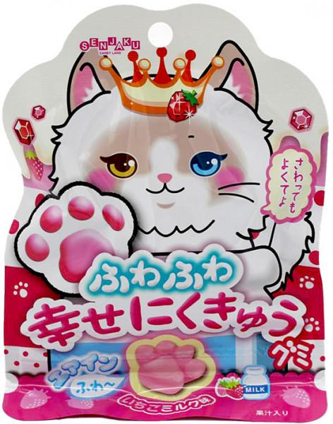 Senjaku Ame Honpo Shiawase Nikukyu Gelee-Gummibärchen mit Erdbeermilch-Geschmack, 30 g