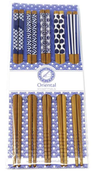 Essstäbchen-Satz Bambus mit blauem Muster, 22,5 cm