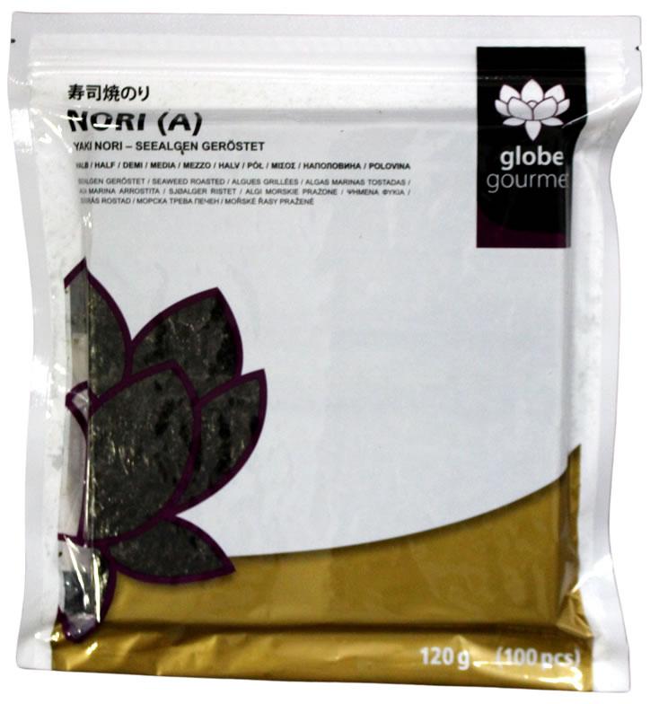 Globe Gourmet Nori-Blätter A, halbe Blätter, 100 Stück