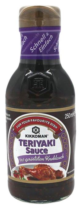 KIKKOMAN Teriyaki Sauce mit geröstetem Knoblauch, 250 ml