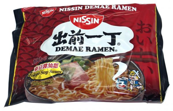 Nissin Demae Ramen Sojasauce Instant Nudelsuppe, 100 g