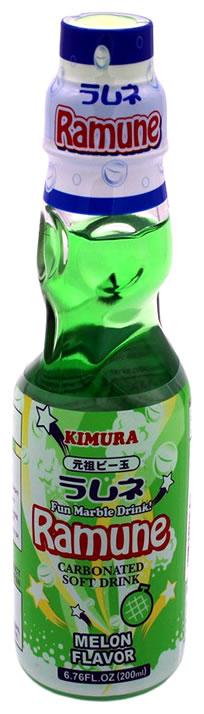 Kimura Ganso Ramune-Limonade mit Melonegeschmack, 200 ml