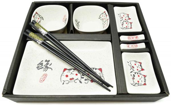 Sushi-Satz mit Katzenmotiven, 10-teilig