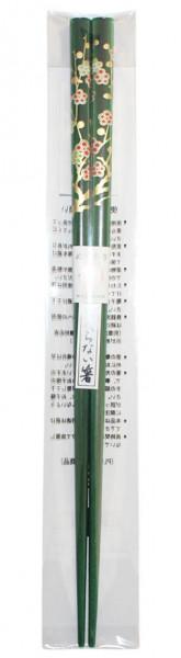 Essstäbchen grün mit floralem Muster, 22,5 cm