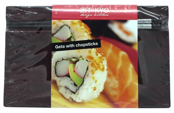 Bamboo Sushi-Teller mit Essstäbchen