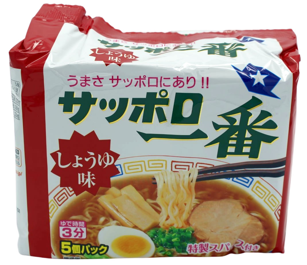 Sapporo Ichiban Ramen Nudeln Sojasauce Shoyu, 5 Beutel je 100 g