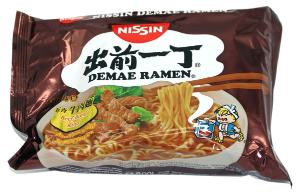 Nissin Demae Ramen Rind Instant Nudelsuppe, 100 g