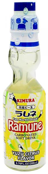 Kimura Ganso Ramune-Limonade mit Yuzu-Geschmack, 200 ml