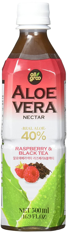 All Groo Aloe-Vera-Getränk mit schwarzem Tee und Himbeere, 500 ml