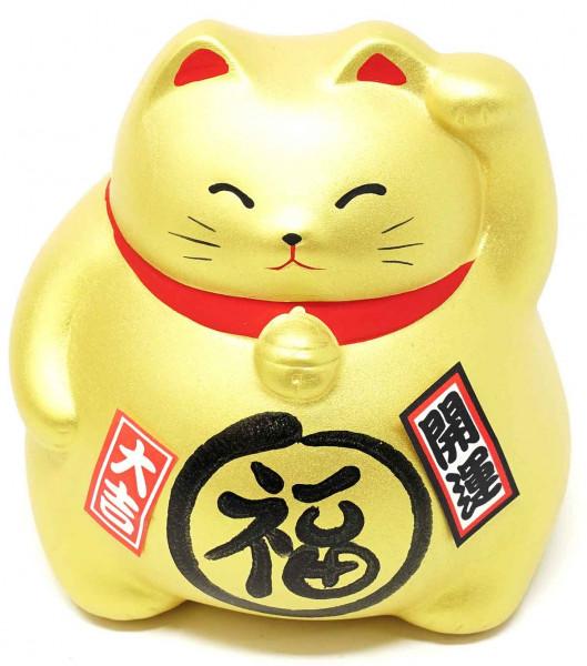 """Maneki-neko """"Glückskatze"""", gold, 9 cm"""