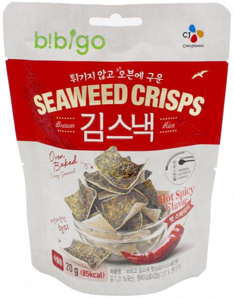 Bibigo Algen-Chips mit Hot-Spicy-Geschmack, 20 g