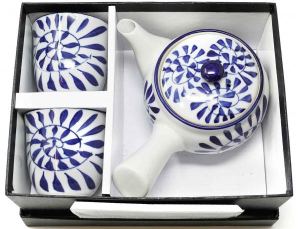Ta-ke Teeset mit Blättermuster, 3-teilig