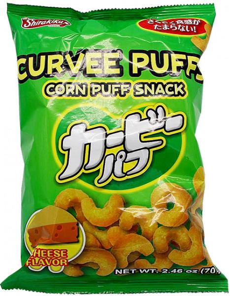Shirakiku Curvee Puffs Mais-Snack mit Käse-Geschmack, 70 g