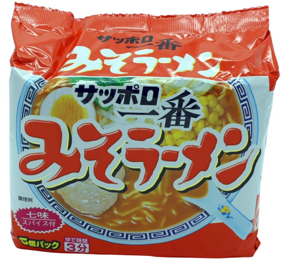 Sapporo Ichiban Ramen Nudeln Miso-Geschmack, 5 Beutel je 100g